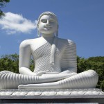 Big white Buddha in Sri Lanka